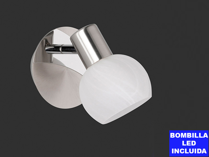 Foco Led antibes 1 luz níquel mate cristal blanco orientable bombilla led 5w incluida