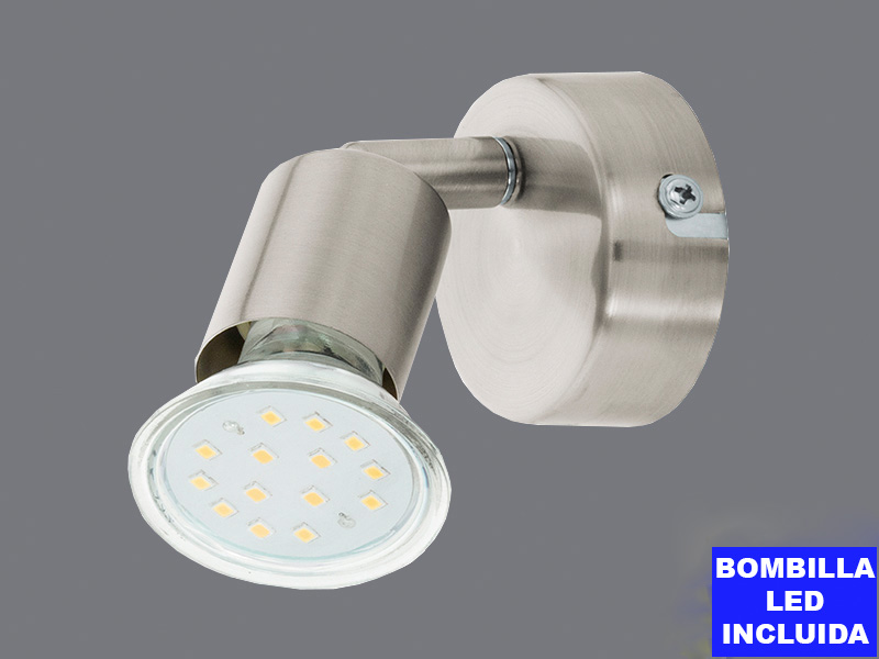 Focus 1 Llum led Buzz Níquel Mate, bombeta inclosa
