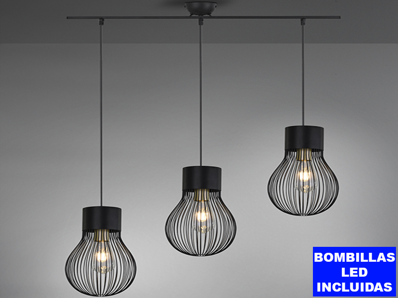 Lámpara colgante DAVE, de 3 luces metal color negro con rejilla, altura regulable y bombillas led vintage 7w incluidas