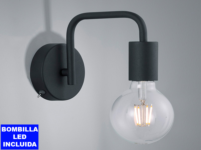 Llum de paret DIALLO color negre, bombeta led vintage 8w inclosa, interruptor a la base.